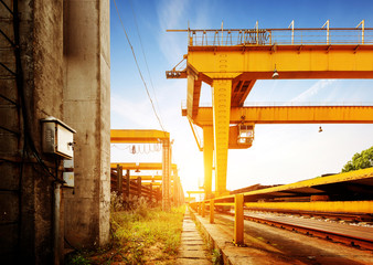 Bridge crane on the docks