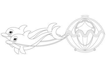 Dolphin Carriage Coloring Book Page