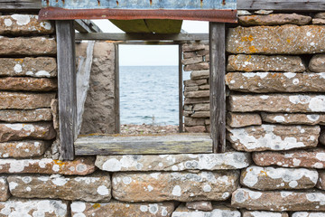 Sea view towars a window