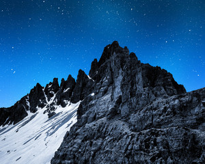 Mount Paternkofel in night, Dolomite Alps,Italy