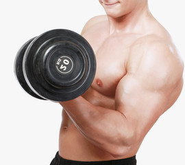 Handsome muscular man working out with dumbbells on white