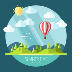 Summer landscape in flat style - vector illustration