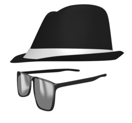 Identity concept of a retro fedora hat and dark glasses disguise