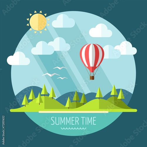 Fotobehang Groen blauw Summer landscape in flat style - vector illustration