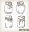 Mason jars set. Collection hand drawn vector illustration - 72852075
