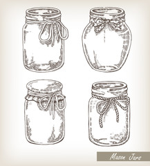Mason jars set. Collection hand drawn vector illustration