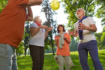 Gruppe Senioren spielt mit Ball
