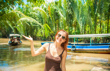 Tourist at Mekong delta cruise