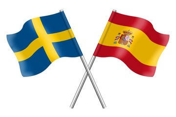 Flags: Sweden and Spain