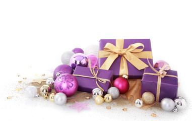 Purple Gifts with Assorted Size Christmas Balls