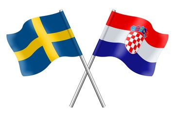 Flags: Sweden and Croatia