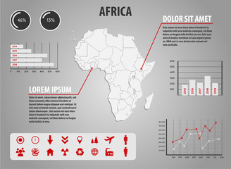 Africa - infographic illustration with charts and icons
