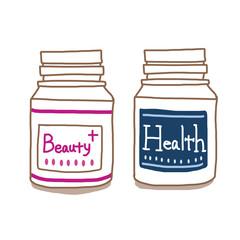 サプリメントボトル 健康と美容