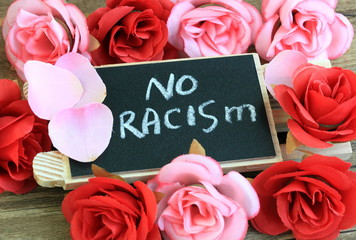 sign showing the concept of no racism