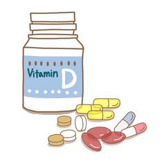 ビタミンDサプリメントと錠剤