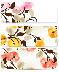 Floral abstract backgrounds set for design