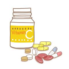 ビタミンCサプリメントと錠剤