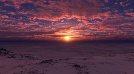 Red sunset on the shore of the frozen sea.