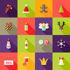 Christmas Square Flat Icons Set 3