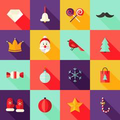 Christmas Square Flat Icons Set 1