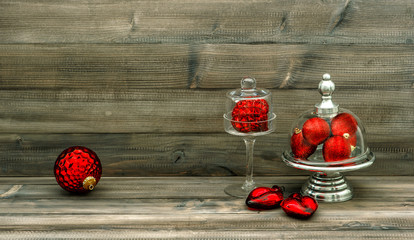 christmas decoration with red baubles. nostalgic home interior