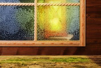 Fenster, Winterabend, Laternenschein