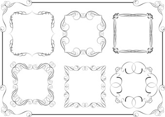 Set of swirl calligraphic frame design