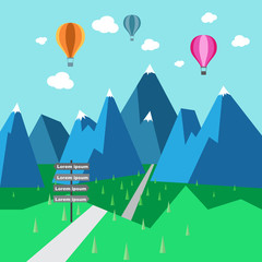 Hot air balloon over the fields, vector format