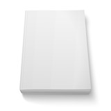 Blank softcover book template on white.