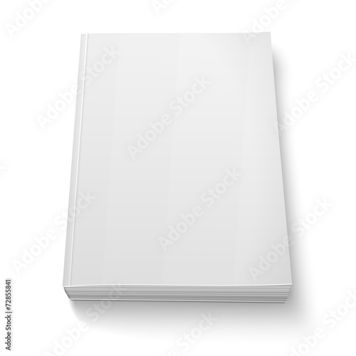 Blank softcover book template on white. - 72855841