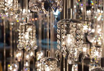 Crystal of modern Chandelier Lamp  in light