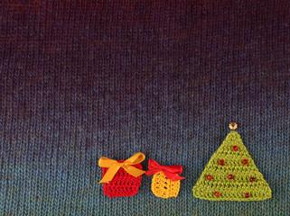 Christmas handmade knitted postcard
