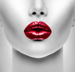 Sexy Red Lips. Beauty Model Woman's Face closeup - 72856400