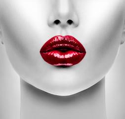 Sexy Red Lips. Beauty Model Woman's Face closeup