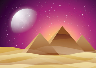 Pyramid at the starry night