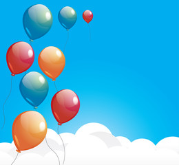 Balloons over the cloud in the blue sky