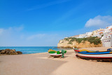 Landscape marine town Carvoeiro with fishermen boats. Portugal.