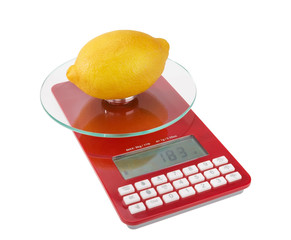 Measurement and weight calorie fruit lemon. On special scales.