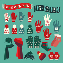 Set of cute warm Christmas mittens, stockings and hats
