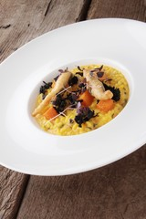 plated vegetable risotto meal