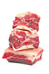 Raw beef ribs on white background