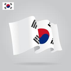 Flat and waving South Korea Flag. Vector