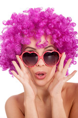 sexy woman with fancy glasess and pink wig