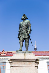 Arkhangelsk. Monument to the Russian Emperor Peter I the Great