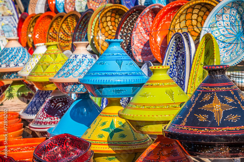 Foto op Canvas Marokko Tajines in the market, Marrakesh,Morocco