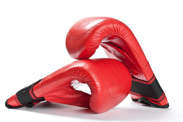 Red boxing gloves isolated on white