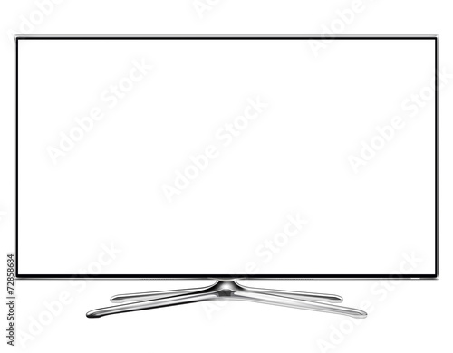 TV, modern television monitor isolated with white screen. - 72858684