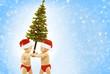 Christmas Baby Kids, Children Greeting Present Xmas Tree