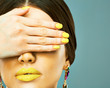 Beauty woman face portrait with yellow lips