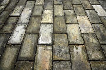 Sidewalk from stone tiles
